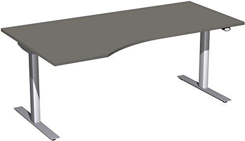 Elektrisch höhenverstellbarer Schreibtisch, links, 1800x1000x680-1160, Graphit/Silber, Geramöbel