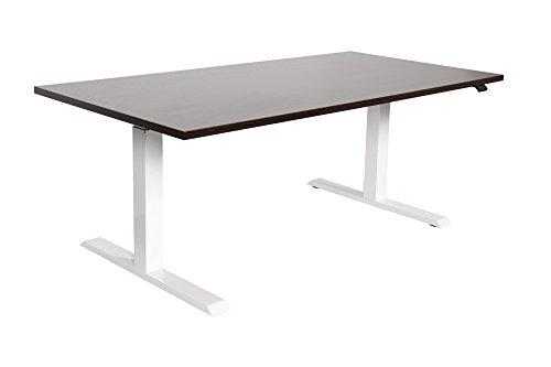 Schreibtisch ergonomisch Höhenverstellung elektrisch Sitz- Stehtisch von Dila mit weißem Tischgestell | Büroschreibtisch Büromöbel Arbeitstisch 160 x 80 cm, Lichtgrau