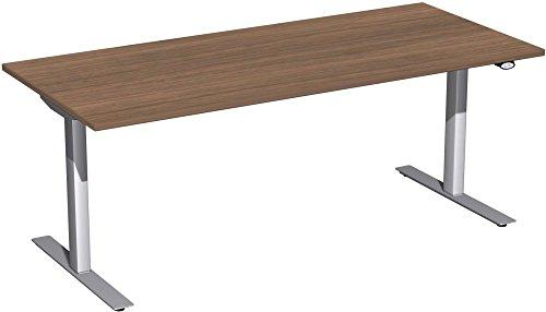 Elektrisch höhenverstellbarer Schreibtisch, 1800x800x680-1160, Nussbaum/Silber, Geramöbel