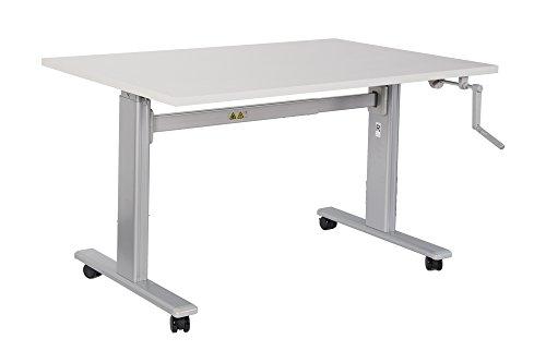 Bürotisch Schreibtisch manuell höhenverstellbar mit grauen Tischgestell Workstation Büromöbel Arbeitstisch Produktionstisch (140 x 80 cm, Buche)