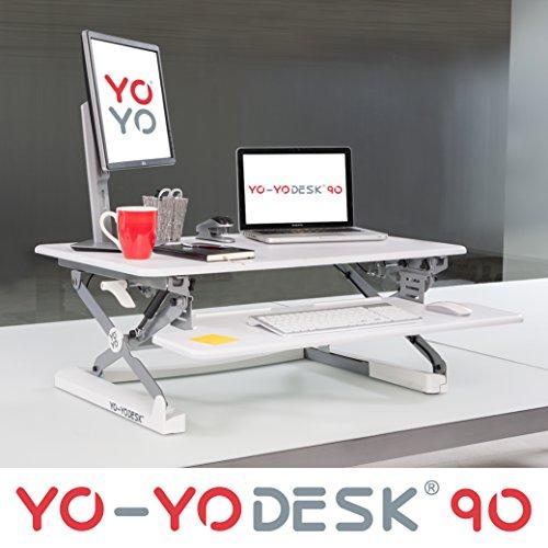 Yo-Yo Desk 90 (Weiß) – Steh-Sitz Schreibtisch. Höhenverstellbarer Tisch (90cm breit)