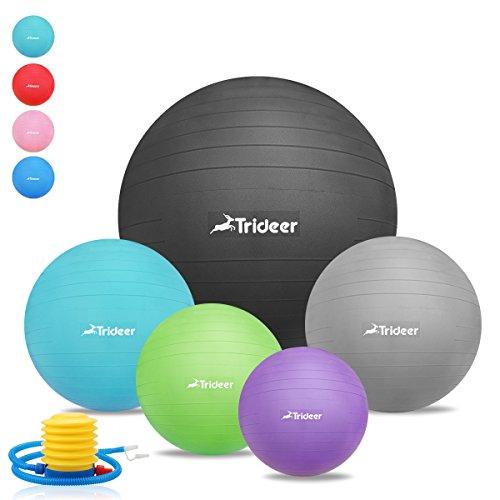 Dick Anti-Burst Gymnastikball Sitzball Pezziball inkl. Ballpumpe, Schwarz, 65cm ( Geeignet für 162-179cm )