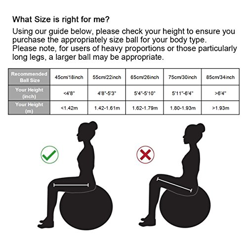 Dick Anti-Burst Gymnastikball Sitzball Pezziball inkl. Ballpumpe, Schwarz, 65cm ( Geeignet für 162-179cm ) - 2