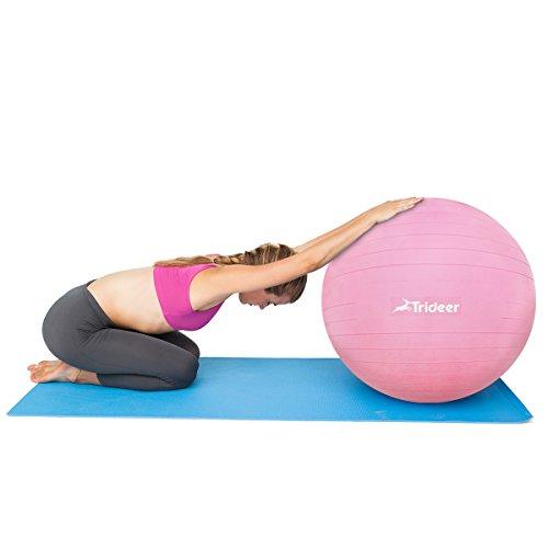 Trideer Robuster Gymnastikball Sitzball Pezziball (Rosa, 65cm ( Geeignet für 162-179cm )) - 9
