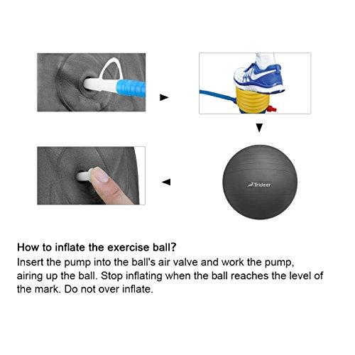 Anti-Burst Gymnastikball von 65cm 75cm mit Ballschale( Aufblasbaren Ring) oder Widerstandsbänder inkl. Ballpumpe, Sitzball Pezziball als Fitness Kleingeräte und Balance Stuhl im Gym-Home-Büro - 5