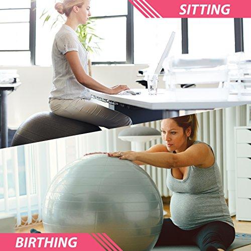 Gymnastikball Übungsball (Mehrere Größen) für Fitness, Stabilität, Balance, Yoga, Schweizer, Schwangerschaft Ball - Übungsleitfaden Inbegriffen - Schnelle Pumpe Inklusive - Anti-Burst Professionelle Qualität - 45cm, Rosa - 6