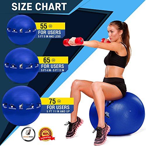 Active Balance Swiss Ball – Robuster Gymnastikball mit gedruckten Übungen & Trainings-eBuch - Der beste Trainingsball für Yoga, Stabilitätsübungen & Pilates. Auch als Sitzball verwendbar - 6