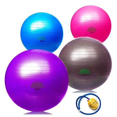 Sosila Anti-Burst Gymnastikball, Yogaball, Pilatesball, Fitnessball, Sitzball mit Pumpe, rutschfest, berstsicher von 65cm und 75cm, 150kg Maximalbelastbarkeit, Pezziball Swissball als Fitness Kleingeräte und Balance Stuhl, ideal für Rehasport, Balanceübungen, Koordinationsübungen, Schwarz, Lila, Pink und Blau (Lila, 65cm)