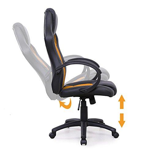 MCTECH® Chefsessel Bürostuhl Schreibtischstuhl, Komfort PU Leder Kunstleder Chefsessel, Drehstuhl mit Armlehnen, Ergonomisch Wippfunktion und Höhenverstellbar (Type A, Schwarz-Orange) - 5