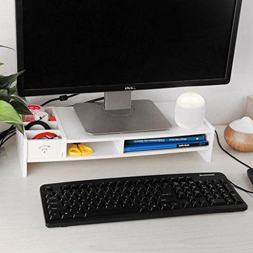 Finether Monitorständer Bildschirmständer Tischaufsatz Schreibtischaufsatz Schreibtischregalfür Monitorerhöhung Bildschirmerhöhung aus WPC weiß 48 x 20 x 10 cm - 5