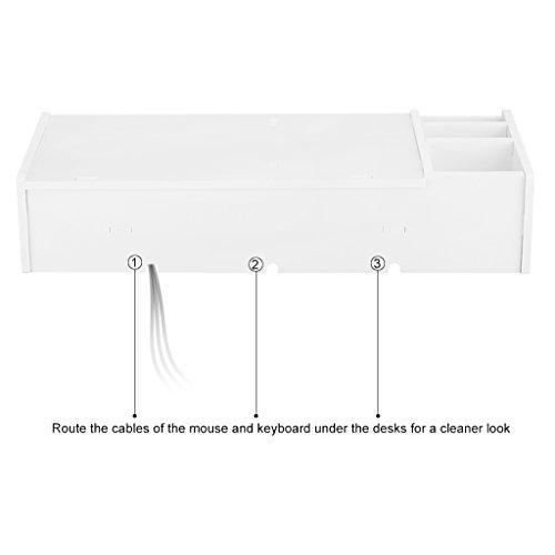 Finether Monitorständer Bildschirmständer Tischaufsatz Schreibtischaufsatz Schreibtischregalfür Monitorerhöhung Bildschirmerhöhung aus WPC weiß 48 x 20 x 10 cm - 7