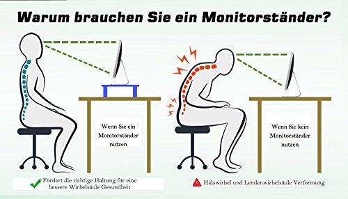YUMU Bildschirmständer Holz, Monitorständer, Bildschirmerhöhung, Computer Tisch, Laptop Tisch, Schreibtischaufsatz, Desktop organizer für Büro und Studierenden in Schwarz MY1005 - 4