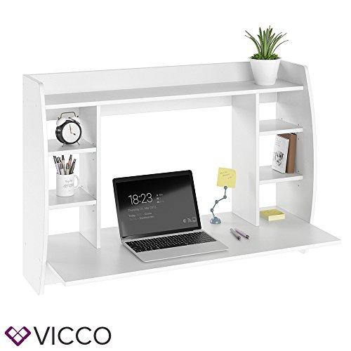 VICCO Wandschreibtisch MAX 110 cm - Schreibtisch Wandschrank Wandtisch Bürotisch Arbeitstisch für PC Computer - 3 Dekore (Weiß)
