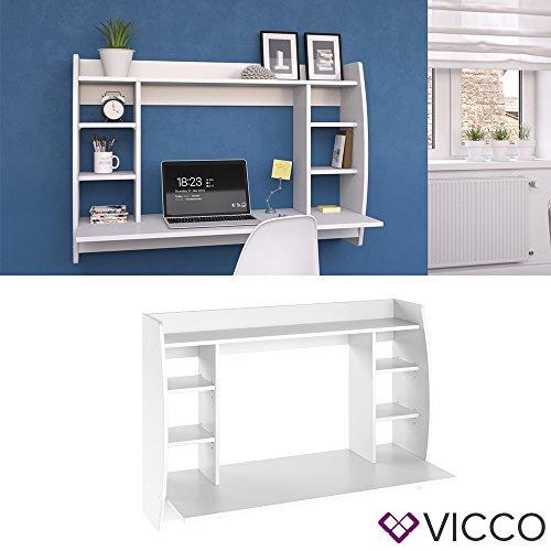 VICCO Wandschreibtisch MAX 110 cm - Schreibtisch Wandschrank Wandtisch Bürotisch Arbeitstisch für PC Computer - 3 Dekore (Weiß) - 2