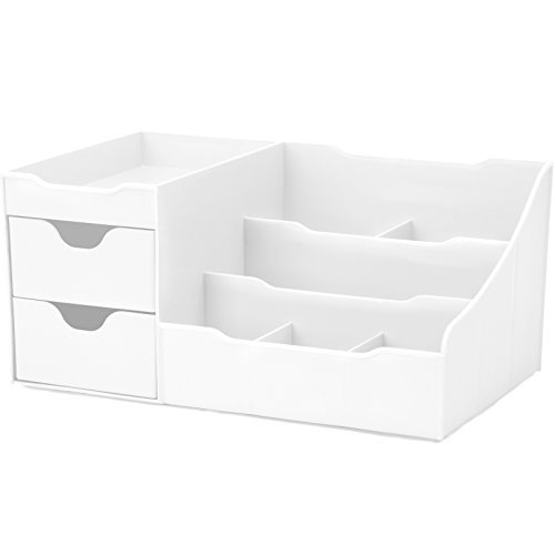 Uncluttered Designs Make-up Organizer Mit Schubladen (2 Schublade, Weiß)
