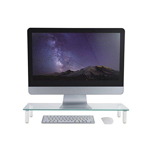 deleyCON Monitor Stand Untersatz Erhöhung Bildschirmständer 20Kg 4 Füße Monitorständer Glas Ablage Schreibtischaufsatz Laptoptisch TV Display PC Weiß - 4