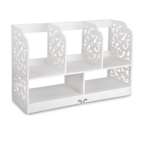 Finether kleines Regal Bücherregal Aufsatzregal Aufbewahrungsregal Tisch-Organizer für Wohnzimmer Badezimmer zur Aufbewahrung von BücherDekoartikel Toilettenartikel Kosmetik aus WPC wasserdicht 60 x 22 x 38 cm weiß