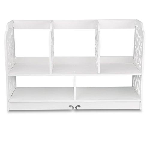 Finether kleines Regal Bücherregal Aufsatzregal Aufbewahrungsregal Tisch-Organizer für Wohnzimmer Badezimmer zur Aufbewahrung von BücherDekoartikel Toilettenartikel Kosmetik aus WPC wasserdicht 60 x 22 x 38 cm weiß - 2