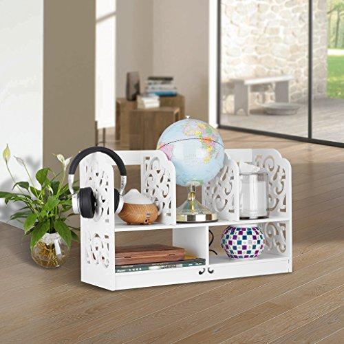 Finether kleines Regal Bücherregal Aufsatzregal Aufbewahrungsregal Tisch-Organizer für Wohnzimmer Badezimmer zur Aufbewahrung von BücherDekoartikel Toilettenartikel Kosmetik aus WPC wasserdicht 60 x 22 x 38 cm weiß - 6