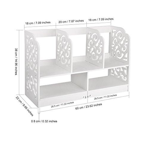 Finether kleines Regal Bücherregal Aufsatzregal Aufbewahrungsregal Tisch-Organizer für Wohnzimmer Badezimmer zur Aufbewahrung von BücherDekoartikel Toilettenartikel Kosmetik aus WPC wasserdicht 60 x 22 x 38 cm weiß - 7