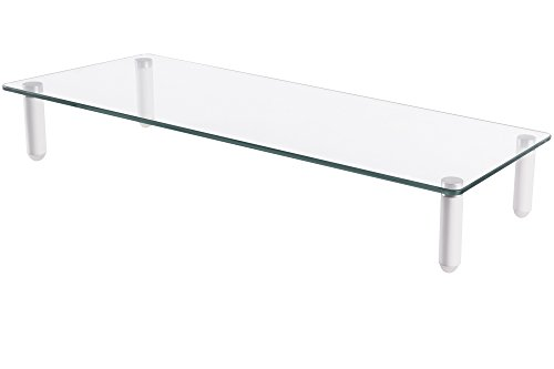 DIGITUS Universal Glas Monitorerhöhung, 13-32 Zoll, 8cm Erhöhung, 56 x 21 x 8 cm, bis 20kg, Durchsichtig/Silber