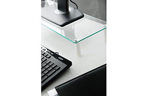 DIGITUS Universal Glas Monitorerhöhung, 13-32 Zoll, 8cm Erhöhung, 56 x 21 x 8 cm, bis 20kg, Durchsichtig/Silber - 4