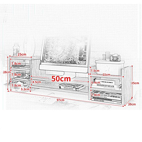 SURRORT LCD-Bildschirm Multilayer Base Multifunktions-Desktop-Speicher Rack Hölzerne Größe 97 * 20 * 28cm ( Farbe : 2# ) - 3