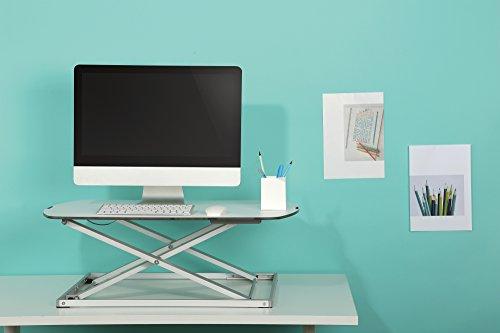RICOO Universal Sitz Steh Monitor Halterung TS1111 Schreibtischaufsatz Höhenverstellbar Ergonomie Gasfeder Ultra Flach Bildschirm Monitorstand Weiss Silber