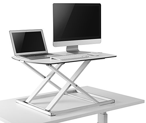RICOO Universal Sitz Steh Monitor Halterung TS1111 Schreibtischaufsatz Höhenverstellbar Ergonomie Gasfeder Ultra Flach Bildschirm Monitorstand Weiss Silber - 4