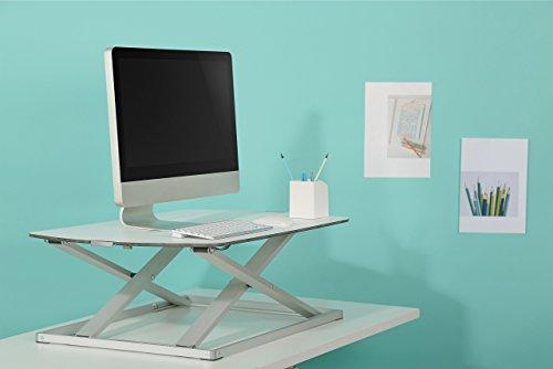 RICOO Universal Sitz Steh Monitor Halterung TS1111 Schreibtischaufsatz Höhenverstellbar Ergonomie Gasfeder Ultra Flach Bildschirm Monitorstand Weiss Silber - 9