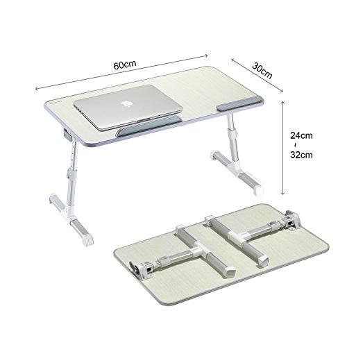 MAPUX Multifunktionstisch Tragbar Höhenverstellbar und Winkelverstellbar Laptoptisch Laptopständer Betttisch NoteBooktisch Bücherständer für Sofa, Bett, Terrasse, Balkon, Garten usw. - 7