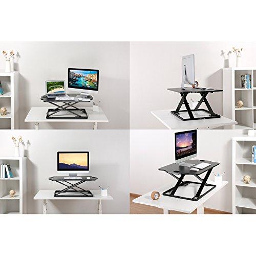 PUTORSEN Höhenverstellbar Sitz-Steh-Schreibtisch Computertisch - Schreibtischaufsatz Steharbeitsplatz Standtisch - Tabletop Stehpult Konverter für Ergonomic Comfort (32'' - Schwarz) - 2