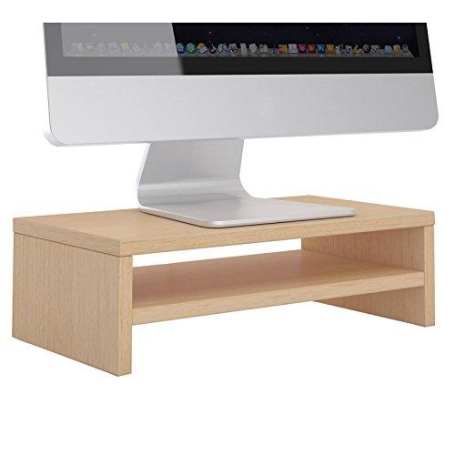 CARO-Möbel Monitorständer SUBIDA Bildschirmaufsatz Schreibtischaufsatz Bildschirmerhöhung mit Ablagefach, in buchefarben