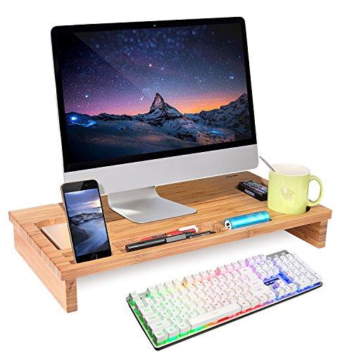 HOMFA Bambus Bildschirmständer Monitorständer Schreibtischaufsatz Bildschirmerhöher als Desktop Organizer Ständer mit Zusätzlicher Stauraum 60*30*8.5cm