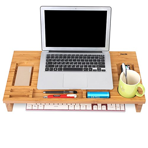 HOMFA Bambus Bildschirmständer Monitorständer Schreibtischaufsatz Bildschirmerhöher als Desktop Organizer Ständer mit Zusätzlicher Stauraum 60*30*8.5cm - 5
