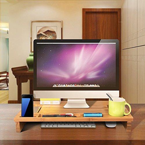 HOMFA Bambus Bildschirmständer Monitorständer Schreibtischaufsatz Bildschirmerhöher als Desktop Organizer Ständer mit Zusätzlicher Stauraum 60*30*8.5cm - 6