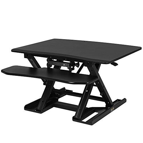 SONGMICS Sitz-Steh-Schreibtisch Höhenverstellbarer Aufsatz Laptop-Ständer Monitorständer Schnell Zum Stehen Einstellen Abnehmbaren und winkeleinstellbaren Tastaturablage 80 x 62 cm Schwarz LSD08B
