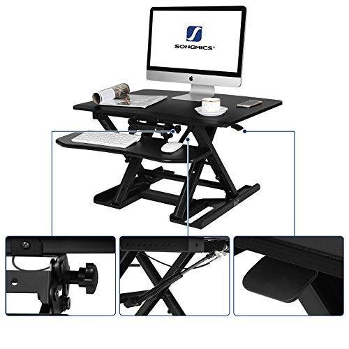 SONGMICS Sitz-Steh-Schreibtisch Höhenverstellbarer Aufsatz Laptop-Ständer Monitorständer Schnell Zum Stehen Einstellen Abnehmbaren und winkeleinstellbaren Tastaturablage 80 x 62 cm Schwarz LSD08B - 5