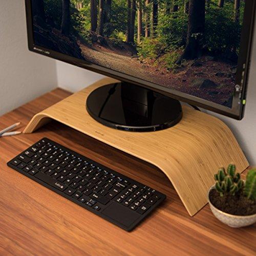 kalibri Bildschirm Holzständer TV Ständer - Computer Tisch Schreibtisch Aufsatz Monitorständer Desktop Bank - Schreibtischaufsatz aus Bambus - 2