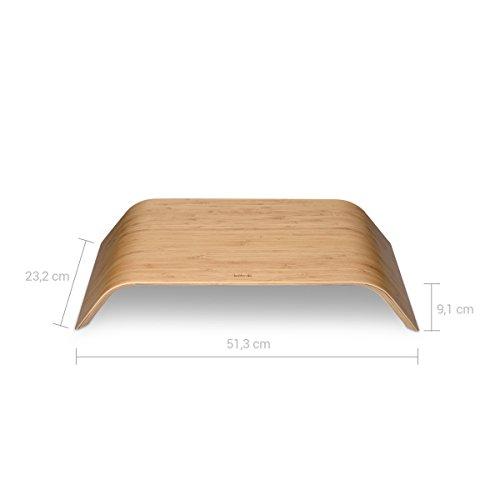 kalibri Bildschirm Holzständer TV Ständer - Computer Tisch Schreibtisch Aufsatz Monitorständer Desktop Bank - Schreibtischaufsatz aus Bambus - 4