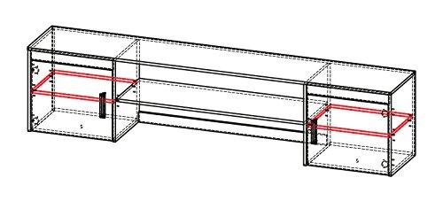 Jugendzimmer - Schreibtischaufsatz Marcel 17, Farbe: Esche Türkis / Grau / Braun - Abmessungen: 51 x 216 x 39 cm (H x B x T) - 7