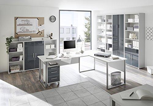 Stella Trading Office Lux Aktenschrank 4trg. , Holzdekor, Korpus: Lichtgrau, Front Glas Graphit Lackiert, 79 x 220 x 35 cm - 2