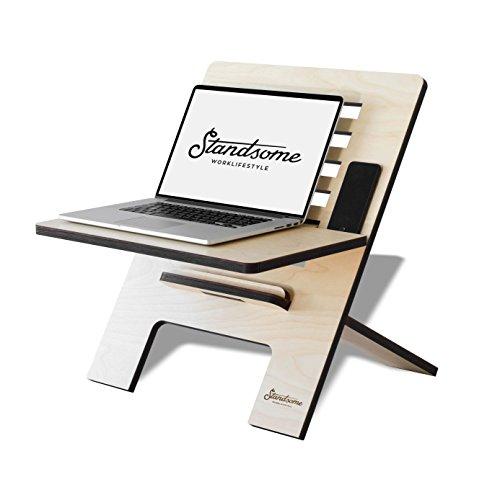 Stehschreibtisch Aufsatz aus Holz - Der höhenverstellbare STANDSOME SLIM Steh Sitz Schreibtisch für ein gesundes Arbeiten im Büro oder ganz egal wo