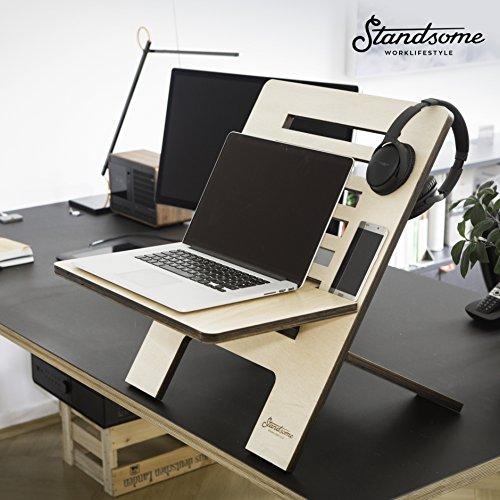 Stehschreibtisch Aufsatz aus Holz - Der höhenverstellbare STANDSOME SLIM Steh Sitz Schreibtisch für ein gesundes Arbeiten im Büro oder ganz egal wo - 9