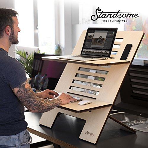 Stehschreibtisch Aufsatz aus Holz - Der höhenverstellbare STANDSOME DOUBLE Steh Sitz Schreibtisch für ein gesundes Arbeiten im Stehen - 7