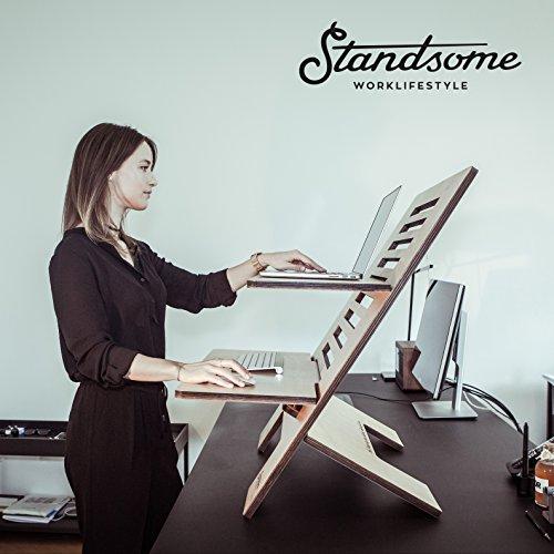 Stehschreibtisch Aufsatz aus Holz - Der höhenverstellbare STANDSOME DOUBLE Steh Sitz Schreibtisch für ein gesundes Arbeiten im Stehen - 8