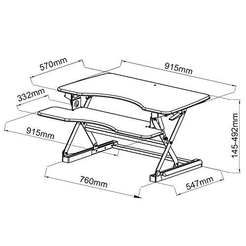 NEG Computertisch ExtenDesk 100B (91,5cm breit) Sitz-/Steh-Arbeitsplatz schwarz - 7